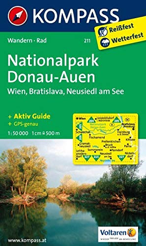 KOMPASS Wanderkarte Nationalpark Donau-Auen - Wien - Bratislava - Neusiedl am See: Wanderkarte mit Kurzführer und Radrouten. GPS-genau. 1:50000: Wandelkaart 1:50 000