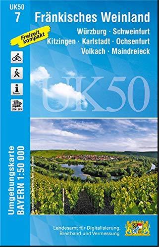 UK50-7 Fränkisches Weinland: Würzburg, Schweinfurt, Kitzingen, Karlstadt, Ochsenfurt, Volkach, Maindreieck, Arnstein, Gemünden a.Main, Dettelbach, ... Karte Freizeitkarte Wanderkarte)