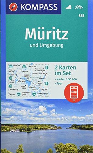 KOMPASS Wanderkarte Müritz und Umgebung: 2 Wanderkarten 1:50000 im Set inklusive Karte zur offline Verwendung in der KOMPASS-App. Fahrradfahren. (KOMPASS-Wanderkarten, Band 855)