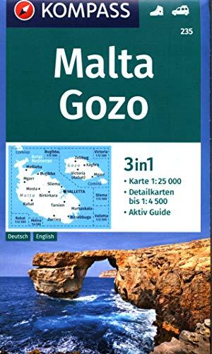 KOMPASS Wanderkarte Malta, Gozo: 3in1 Wanderkarte 1:25000 mit Aktiv Guide und Detailkarten. Autokarte. (KOMPASS-Wanderkarten, Band 235)