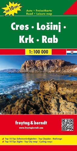 Cres - Lošinj - Krk - Rab, Autokarte 1:100.000, Top 10 Tips: Toeristische wegenkaart 1:100 000 (freytag & berndt Auto + Freizeitkarten)