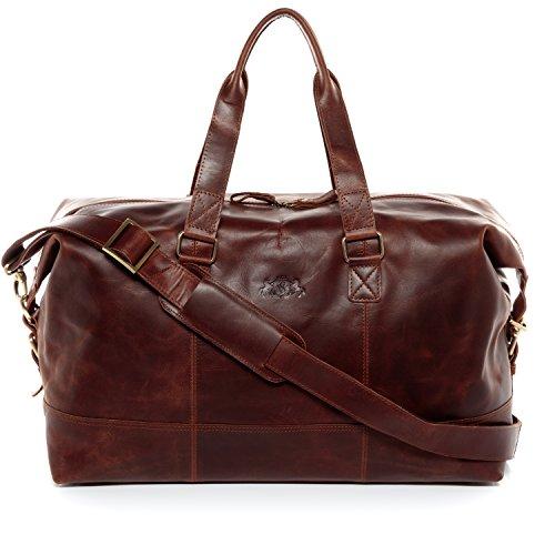 SID & VAIN Weekender echt Leder Yale groß Sporttasche Reisetasche Ledertasche 50 cm braun