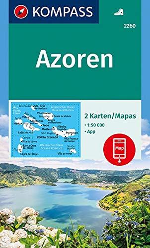 KOMPASS Wanderkarte Azoren: 2 Wanderkarten 1:50000 im Set inklusive Karte zur offline Verwendung in der KOMPASS-App.: 2-delige Wandelkaart 1:50 000 (KOMPASS-Wanderkarten, Band 2260)