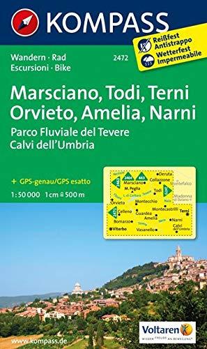 KOMPASS Wanderkarte Marsciano - Todi - Terni - Orvieto - Amelia - Narni: Wanderkarte mit Radtouren. GPS-genau. 1:50000: Wandelkaart 1:50 000 (KOMPASS-Wanderkarten, Band 2472)