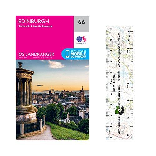 Landranger 66 ~ Edinburgh, Penicuik und North Berwick Wanderkarte mit einem kostenlosen Maßstabslineal