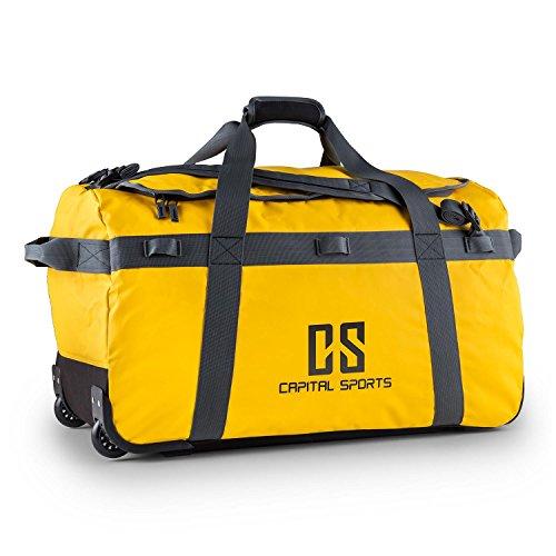 CAPITAL SPORTS Journ L - Sporttasche, Umhängetasche, Rucksack, 90 Liter, wasserabweisend, Reißverschluss, überlappende Verschlusslasche, Trageriemen, Schultergurt, widerstandsfähig, gelb