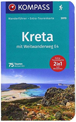 KOMPASS Wanderführer Kreta mit Weitwanderweg E4: Wanderführer mit Extra-Tourenkarte 1:50000 - 1:75000, 75 Touren, GPX-Daten zum Download.