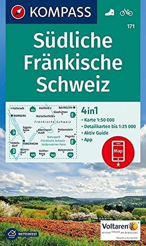 KOMPASS Wanderkarte Südliche Fränkische Schweiz: 4in1 Wanderkarte 1:50000 mit Aktiv Guide und Detailkarten inklusive Karte zur offline Verwendung in ... (KOMPASS-Wanderkarten, Band 171)