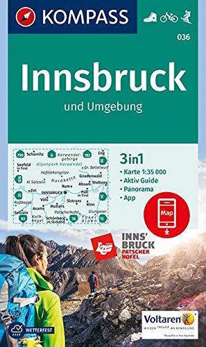 KOMPASS Wanderkarte Innsbruck und Umgebung: 3in1 Wanderkarte 1:35000 mit Aktiv Guide und Panorama inklusive Karte zur offline Verwendung in der ... 1:35 000 (KOMPASS-Wanderkarten, Band 36)