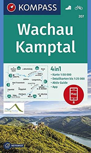 KOMPASS Wanderkarte Wachau, Kamptal: 4in1 Wanderkarte 1:50000 mit Aktiv Guide und Detailkarten inklusive Karte zur offline Verwendung in der ... (KOMPASS-Wanderkarten, Band 207)
