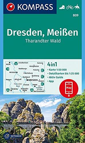 KOMPASS Wanderkarte Dresden, Meißen, Tharandter Wald: 4in1 Wanderkarte 1:50000 mit Aktiv Guide und Detailkarten inklusive Karte zur offline Verwendung ... Reiten. (KOMPASS-Wanderkarten, Band 809)