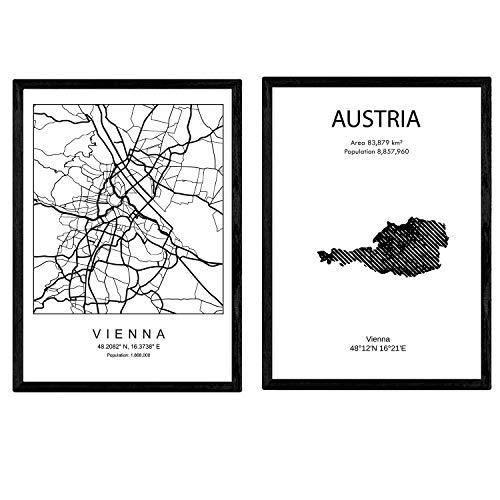 Pack von Plakaten und Denkmäler Ländern. Österreich und Wien Stadtplan. A4-Format