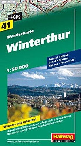 Wanderkarte Winterthur, Tösstal 1:50 000, Blatt 41, wasser- und reißfest (Hallwag Wanderkarten)