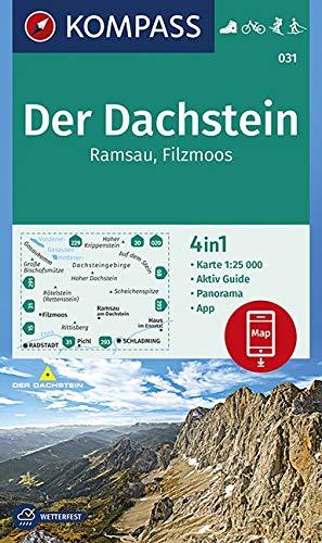 KOMPASS Wanderkarte Der Dachstein, Ramsau, Filzmoos: 4in1 Wanderkarte 1:25000 mit Panorama und Aktiv Guide inklusive Karte zur offline Verwendung in ... 1:25 000 (KOMPASS-Wanderkarten, Band 31)