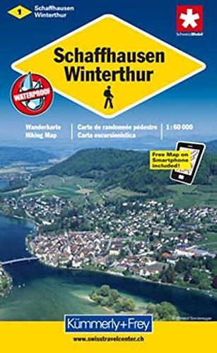Wanderkarte Schaffhausen, Winterthur 1:60 000 (Kümmerly+Frey Wanderkarten)