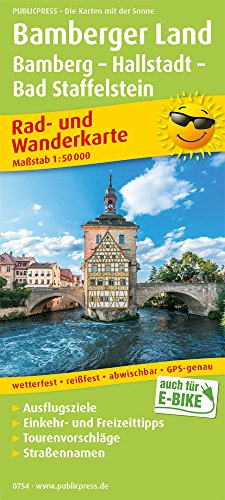 Bamberger Land, Bamberg - Hallstadtt - Bad Staffelstein: Rad- und Wanderkarte mit Ausflugszielen, Einkehr- & Freizeittipps, wetterfest, reißfest, ... 1:50000 (Rad- und Wanderkarte / RuWK)