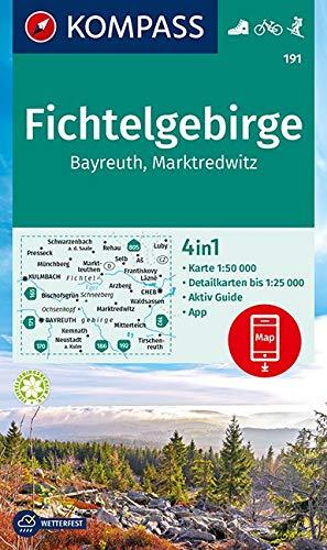 KOMPASS Wanderkarte Fichtelgebirge, Bayreuth, Marktredwitz: 4in1 Wanderkarte 1:50000 mit Aktiv Guide und Detailkarten inklusive Karte zur offline ... Skitouren. (KOMPASS-Wanderkarten, Band 191)