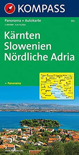 Kompass Panorama-Karten, Kärnten, Slowenien, Nördliche Adria (Nr.352)