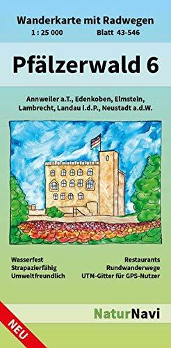 Pfälzerwald 6: Wanderkarte mit Radwegen, Blatt 43-546, 1 : 25 000, Annweiler a.T., Edenkoben, Elmstein, Lambrecht, Landau i.d.P., Neustadt a.d.W. (NaturNavi Wanderkarte mit Radwegen 1:25 000)