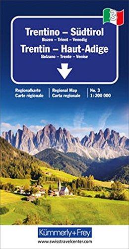 Trentino - Südtirol Regionalkarte Italien Nr. 3: Bozen-Trient-Venedig, Massstab 1:200000 (Kümmerly+Frey Reisekarten)