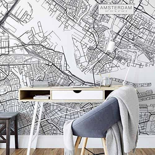 Fototapete Stadtplan Amsterdam Vlies Tapete Niederlande Holland Europa Reise Stadt Hauptstadt Ort Wall-Art - 240x350 cm