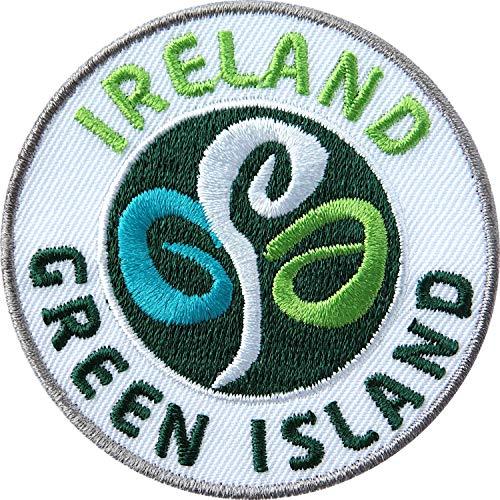 2 x Irland Abzeichen gestickt 60 mm / irisch Insel grün Abenteuer Outdoor Trekking Wandern Flagge Logo Wappen / Aufnäher Aufbügler Flicken Sticker Patch / Reiseführer Wanderkarte Buch Karte Camping