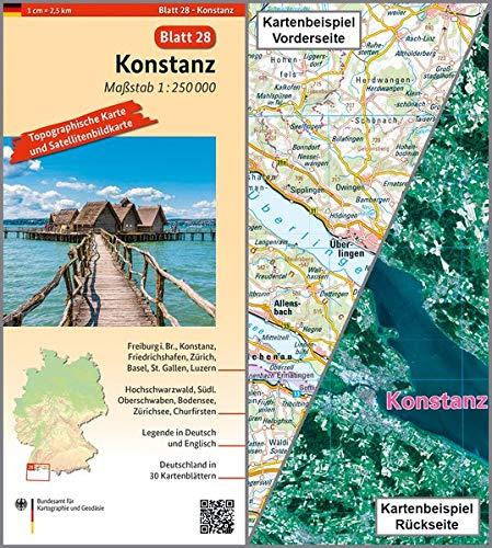 Konstanz: Umgebungskarte mit Satellitenbild 1:250.000 (TK250 / Topographische und Satellitenbildkarte)